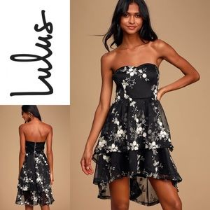 NWT LULU'S Strapless Tiered High-Low Dress
